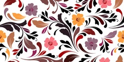 Floral seamless pattern. Oriental texture for fabric, wrapping, wallpaper and paper. Ornamental flowery background. Decorative ornament.