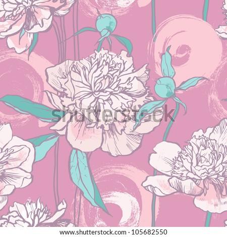 Floral seamless pattern. Peony