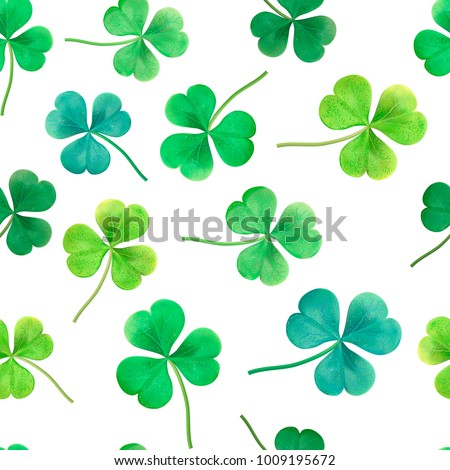 Floral seamless pattern. Saint Patrick's day background with shamrock. Abstract carpet of grass. Ireland symbol of lucky ornament. Design with clover leaves for decor card, web site, wrapping, textile