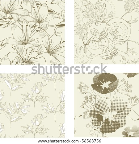 Floral seamless pattern. Set 1 - stock vector