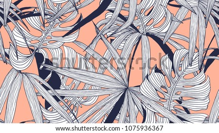 Floral seamless pattern, split-leaf Philodendron and palm leaves on orange background, line art ink drawing