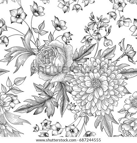 Floral seamless pattern. Summer Flower bouquet decor. Engraving background
