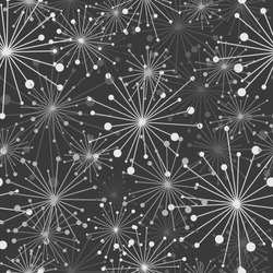 Floral Seamless pattern texture with white abstract fireworks on black background. winter holiday vector illustration with stars. Perfect for printing on fabric, paper or wrapping