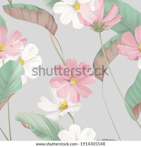 floral seamless pattern  white