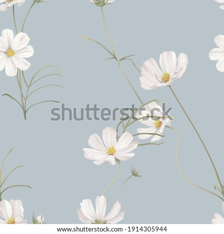 Floral seamless pattern, white cosmos flowers with green leaves on blue