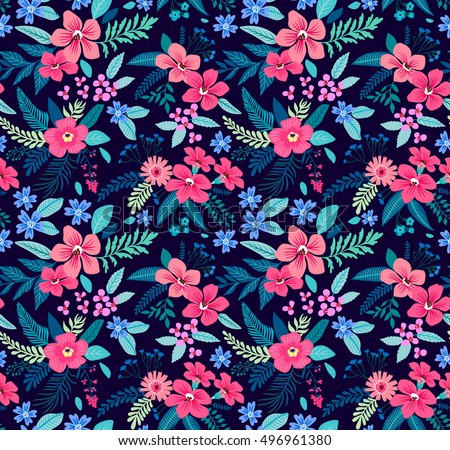 Ditsy seamless pattern vector download free vector art stock floral seamless pattern with beautiful pink flowers tropical design exotic flowers and leaves mightylinksfo
