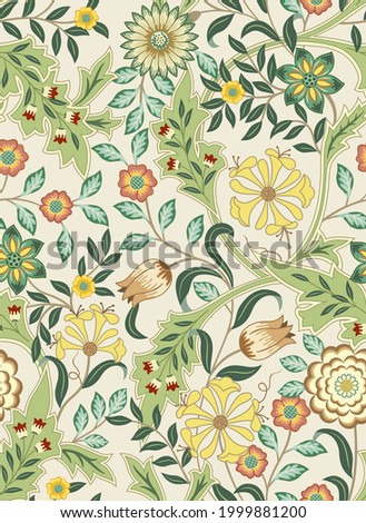 Floral seamless pattern with big flowers and foliage on a light background. Vector illustration.