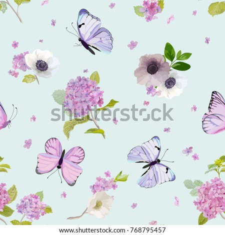 Floral Seamless Pattern with Blooming Hydrangea Flowers and Flying Butterflies in Watercolor Style. Beauty in Nature. Background for Fabric, Textile, Print and Invitation. Vector illustration