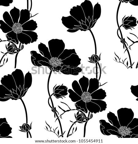 Floral seamless pattern with cosmos flowers.Vector sketch of blooming flowers.Blooming forest flowers , detailed hand drawn vector illustration.  #1055454911