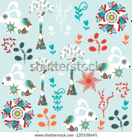 Floral seamless pattern with cute rabbits and seamless pattern in swatcn menu, vector