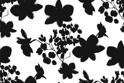 Floral seamless pattern with different flowers and leaves. Black and white Botanical illustration  hand painted. Textile print, fabric swatch, wrapping paper.