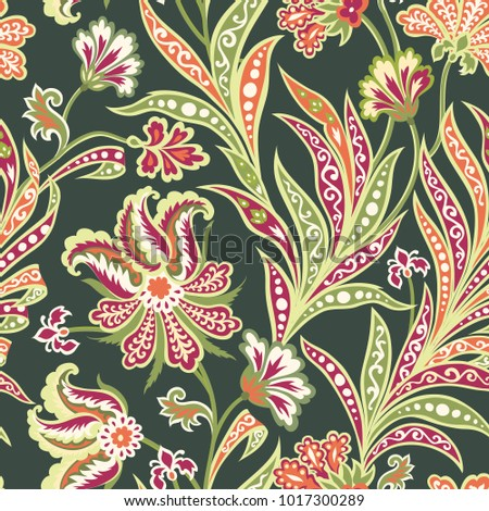 Floral seamless pattern with flowers and leaves Arabic style flourish background. Oriental fabric ornamental wallpaper. Floral easten artistic wonderland design