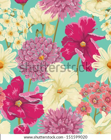 stock vector floral seamless pattern with flowers in watercolor style 151599020 - Каталог — Фотообои «Цветы»