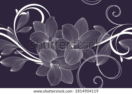 Floral seamless pattern with flowers of lilies. Vector illustration. Foto stock ©