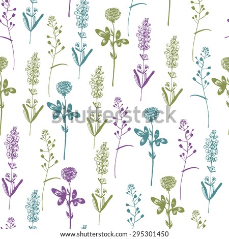 Floral seamless pattern with herbs.
