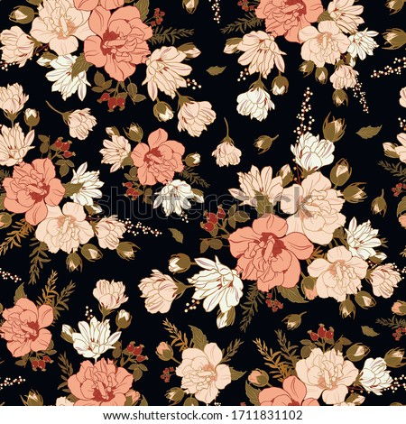 Floral seamless pattern with hibiscus. Floral background for surface design