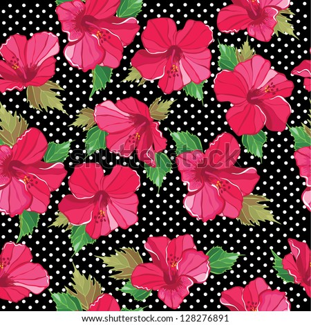 Floral seamless pattern with hibiscus hand-drawing Vector illustration