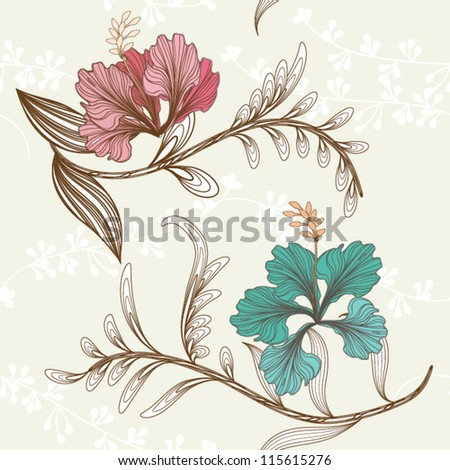 Floral seamless pattern with leaves, EPS10 Vector background