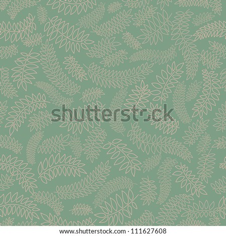 floral seamless pattern with leaves on green background