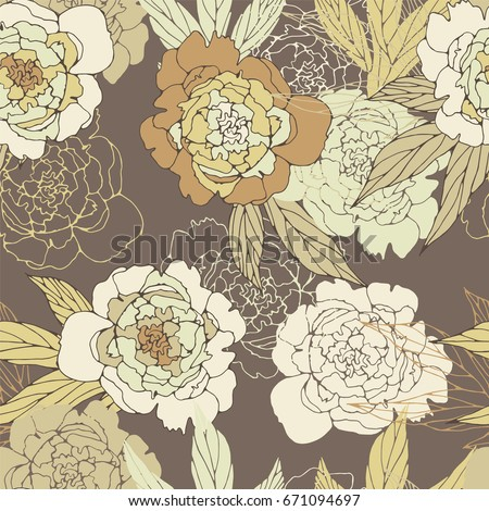 Floral seamless pattern with peony.