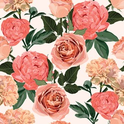 Floral Seamless Pattern with peony flowers, roses and clove flowers and leaves. Blooming Flowers on white Background.
