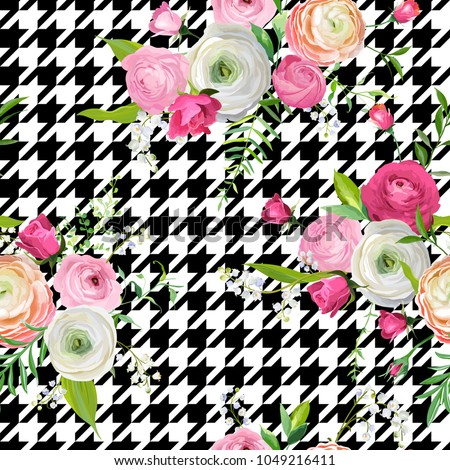 Floral Seamless Pattern with Pink Flowers and Dogtooth Ornament. Botanical Background for Fabric Textile, Wallpaper, Wrapping Paper and Decor. Vector illustration