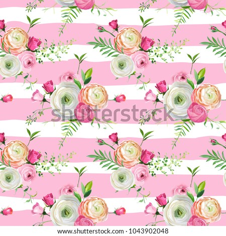 Floral Seamless Pattern with Pink Roses and Ranunculus Flowers. Botanical Background for Fabric Textile, Wallpaper, Wrapping Paper and Decor. Vector illustration