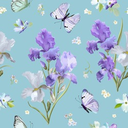 Floral Seamless Pattern with Purple Blooming Iris Flowers and Flying Butterflies. Watercolor Nature Background for Fabric, Wallpaper, Invitations. Vector illustration