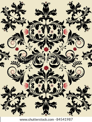 floral seamless pattern with red and black elements