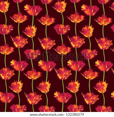 Floral seamless pattern with red flowers tulips. Flourish background.