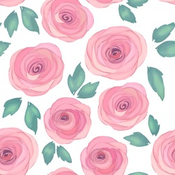 Floral seamless pattern with roses. Vector illustration. Watercolor style