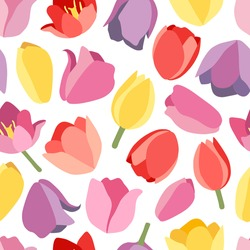 Floral seamless pattern with spring flowers buds. Red, yellow, pink, lilac tulips. Isolated vector illustration. Background for wrapping paper, textile, wallpaper, scrapbooking. Flat cartoon design.
