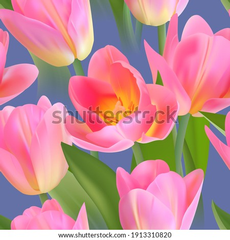 Floral Seamless tulips with leaves pattern on a beautiful background. High realism, vector, spring flowers for fabric, prints, decorations, invitation cards. Stock fotó ©