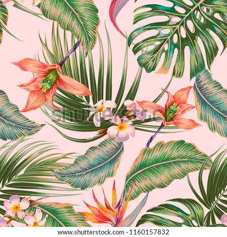 Floral seamless vector tropical pattern background with exotic flowers, orchid, palm leaves, jungle leaf, bird of paradise flower. Botanical vintage wallpaper illustration