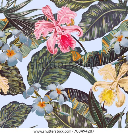 Floral seamless vector tropical pattern background with exotic flowers, palm leaves, jungle leaf, orchid flower. Botanical wallpaper, vintage illustration in Hawaiian style