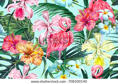 Floral seamless vector tropical pattern background with exotic flowers, palm leaves, jungle leaf, hibiscus, orchid flower, pink flamingos. Botanical wallpaper, illustration in Hawaiian style
