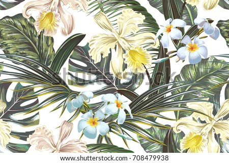 Floral seamless vector tropical pattern, summer background with exotic flowers, palm leaves, jungle leaf, orchid flower. Vintage botanical wallpaper, illustration in Hawaiian style