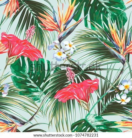 Floral seamless vector tropical summer pattern background with exotic flowers, palm leaves, jungle leaf, hibiscus, strelitzia, bird of paradise flower. Botanical vintage wallpaper illustration