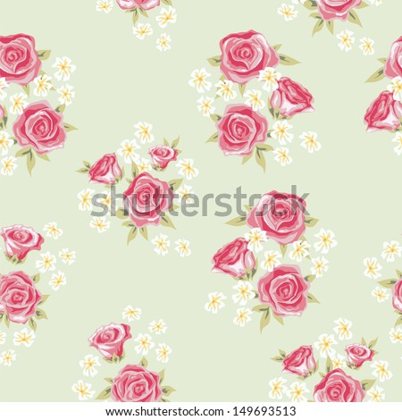 Floral seamless vintage pattern. Shabby chic background with rose and simple flower for you design and scrapbooking.