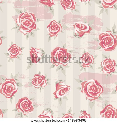 Floral Seamless Vintage Pattern Shabby Chic Background With Rose And Stripes For You Design