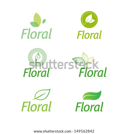 floral set of leaf green eco logos isolated