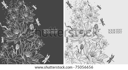 floral set of two cards with hand drawn waterlilies and dragonflies