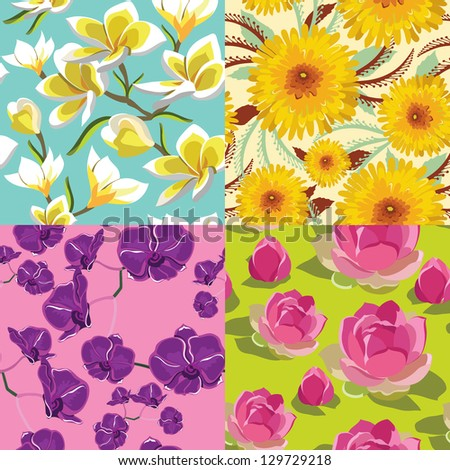 Floral set, seamless patterns, hand-drawing. Vector illustration.