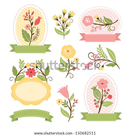 Floral set, vector collection