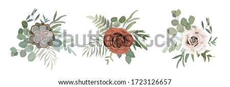 Floral set with roses, cactus, greenery, herbs and eucaluptys branches for wedding bouquets, cards, designs. Vector illustration