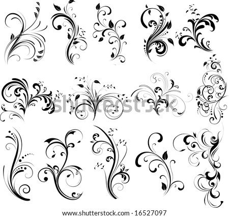 Flower Tatoos Floral Silhouette, Element For Design, Vector Tattoo