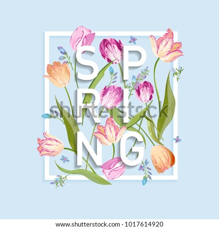 Floral Spring Design for Card, Sale Banner, Poster, T-shirt Print. Background with Flowers Blooming Tulips. Vector illustration