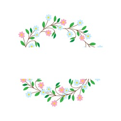 Floral spring floral frame for text decoration on white isolated background. Text flower frame. Blue, pink flowers, vector illustration in flat style.