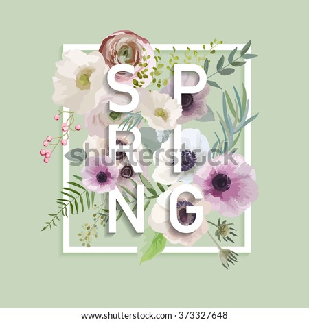 floral spring graphic design