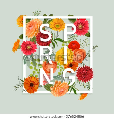Shutterstock Floral Spring Graphic Design - with Colorful Flowers - for t-shirt, fashion, prints - in vector